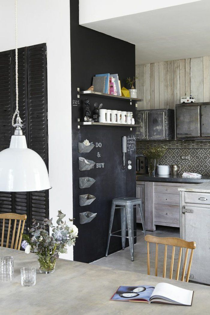 68 Idees Creatives Avec L Ardoise Murale Archzine Fr Cuisine Americaine Deco Maison Cuisine Bois Moderne