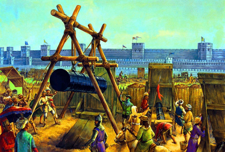 Ottoman Artillerymen Put A Huge Cannon Into Position Before The