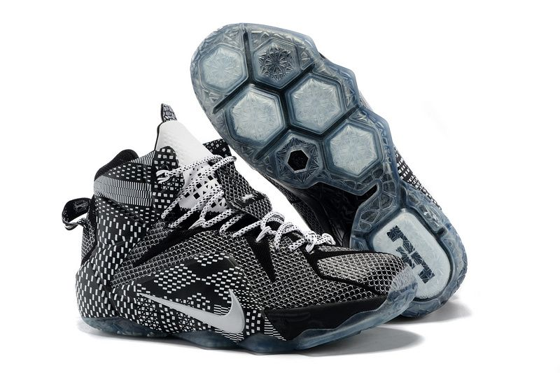 Cheap Nike LeBron 12 BHM Black White 2015 Basketball Shoes on sale