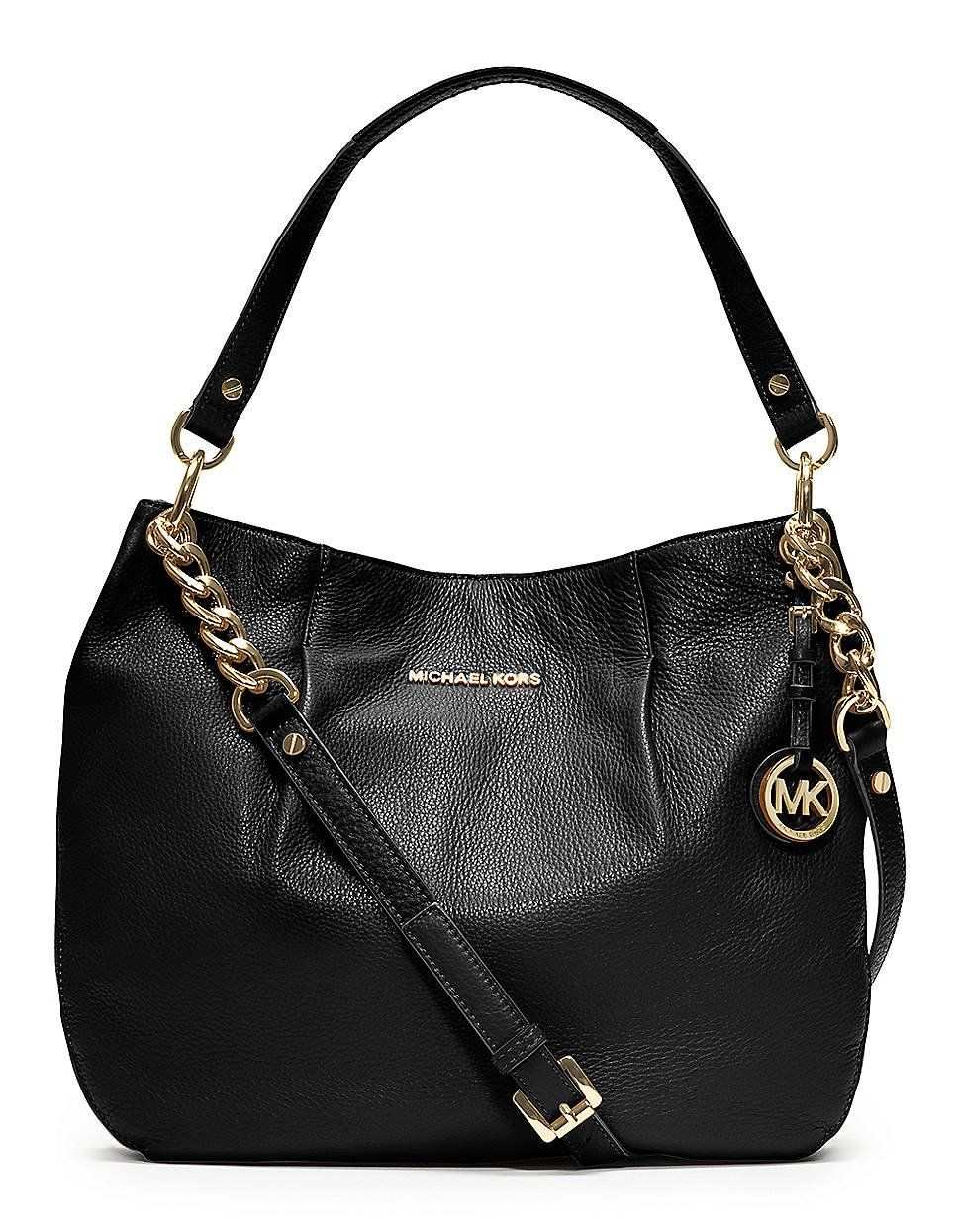 b50b3d3fc8c43 Michael Kors Bedford Large Genuine Black Leather Shoulder Tote Bag  Handbags   Amazon.com