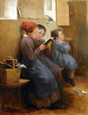 The Reading Lesson by Henriette Browne (1829 - 1901, French)
