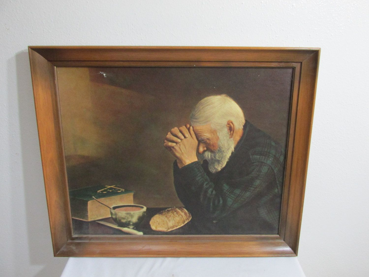 Vintage Picture Grace Old Man Praying Over Bread 16 X 20 Without