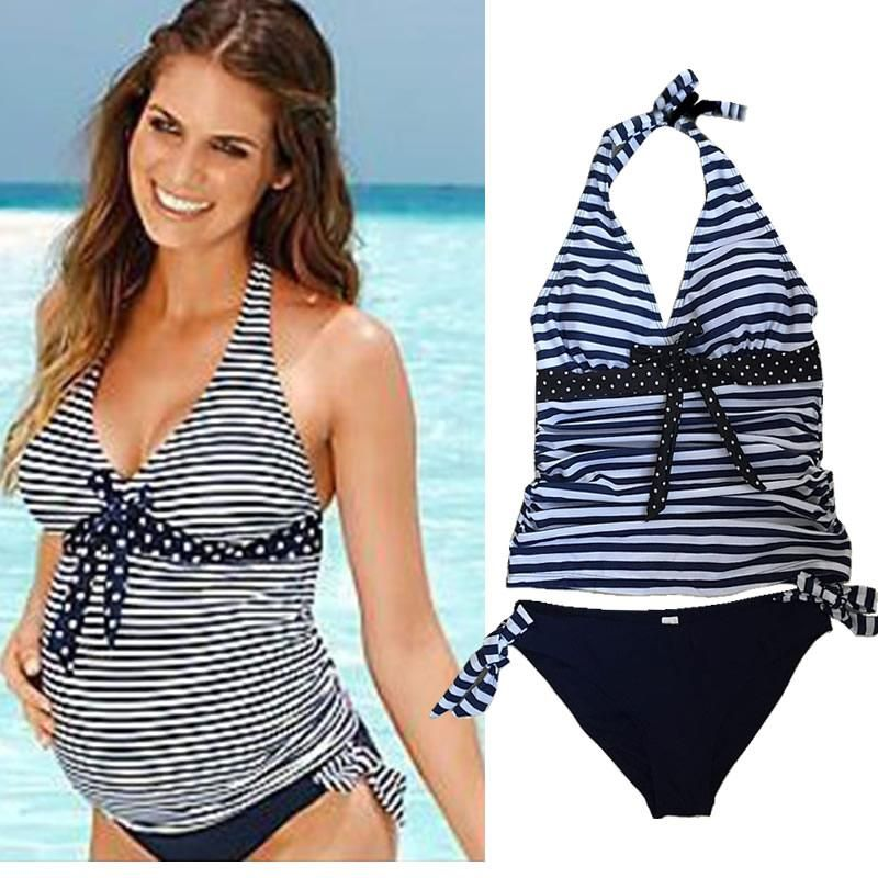 45901767d0 Maternity swimsuit Badpak Striped Beach Swimming Suit Plus size Swimwear  2PCS for pregnant women Deep V Bathing Suit Bikini Set.