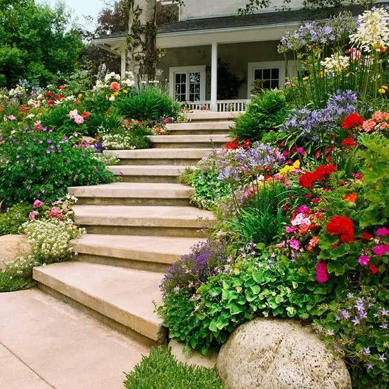 garten hang gestalten treppen bauen breit   gartenideen, Gartenarbeit ideen