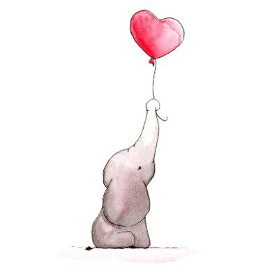 Elefant Mit Luftballon Baby Elephant With Balloon Oooooooch