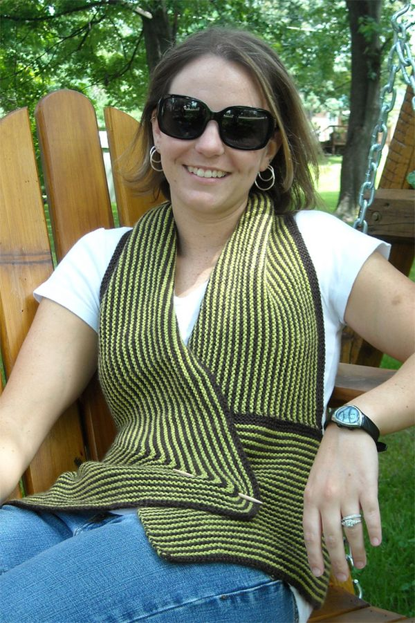 Free Knitting Pattern For Easy Hanne Vest This Halter Wrap Vest Is