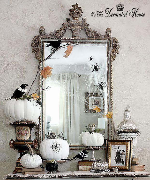 ~ Halloween Decor :: Vintage & Elegant ::  Black & White with Mercury Glass :: Entry Table 2013 #eleganthalloweendecor