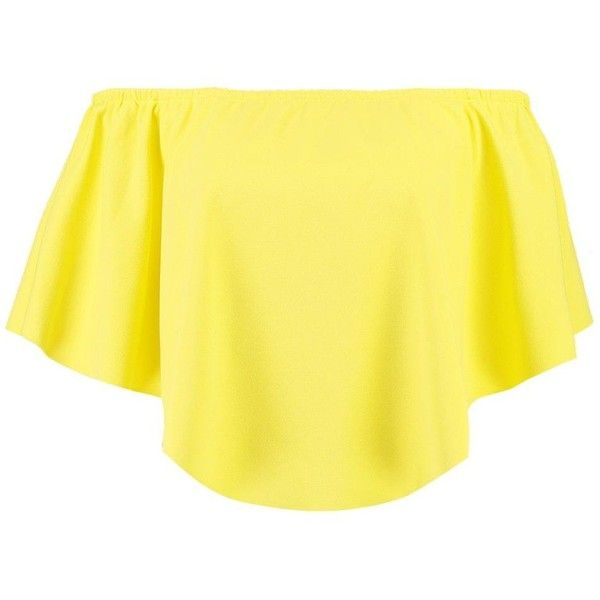 Boohoo Zoe Double Layer Curved Hem Bardot (€12) ❤ liked on Polyvore featuring tops, off the shoulder tops, jersey crop top, yellow crop top, yellow off the shoulder top and crop top