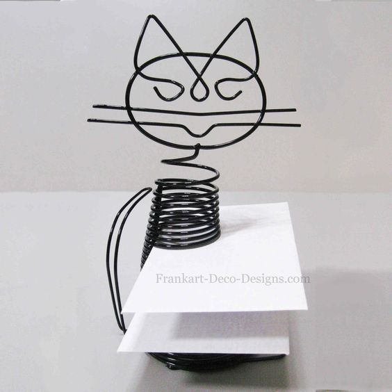"Sitting Cat large Eames-style desk letter sorter or business card holder. He looks like he's almost smiling :) 7"" tall.:"