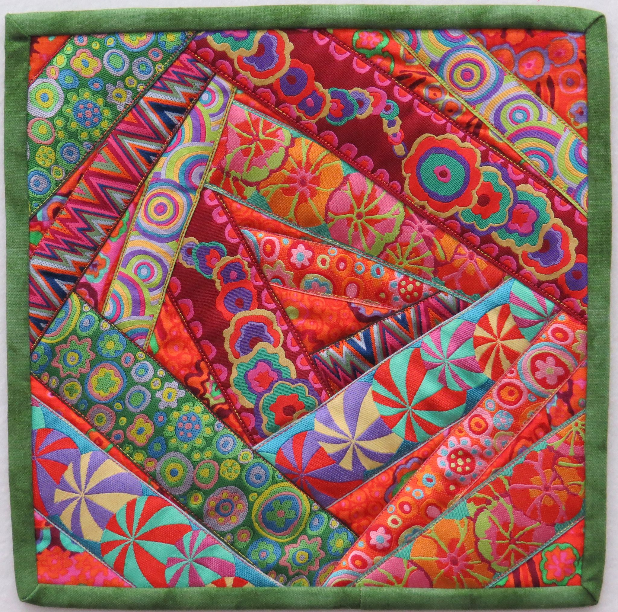 https://flic.kr/p/iemhNS | Mini Ribbon Crazy Quilt | Tutorial available… here… www.cvquiltworks.blogspot.com/2013/12/playing-with-ribbon...