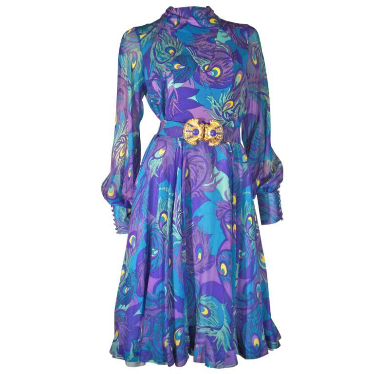1970s La Mendola Silk Jersey and Chiffon Abstract Peacock Print ...