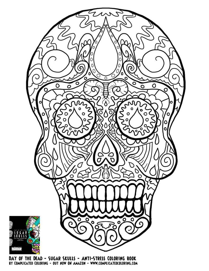coloring book pages for adults skull   Day of the Dead dia de los muertos Sugar Skull coloring ...