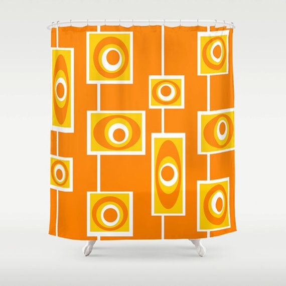 Mid Century Modern Shower Curtain Retro Bathroom Decor