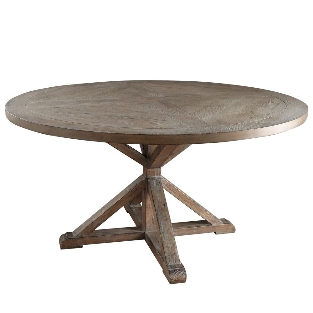 Benchwright Rustic X Base Round Pine Wood Dining Table By Inspire