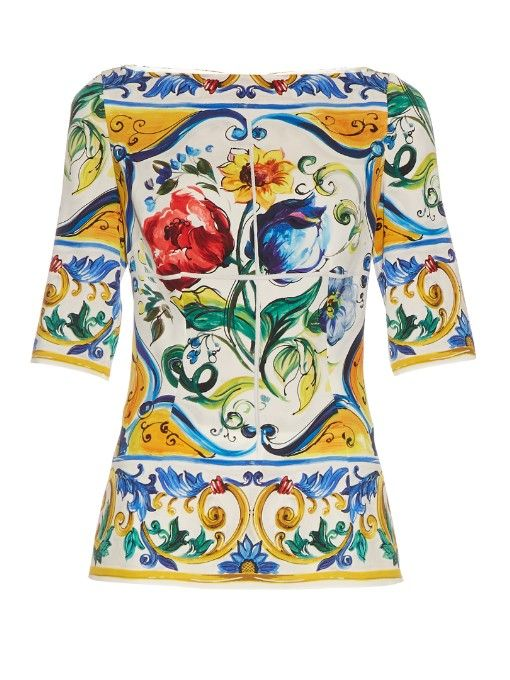 2b305a9c DOLCE & GABBANA Majolica-Print Silk-Blend Charmeuse Top. #dolcegabbana # cloth #top