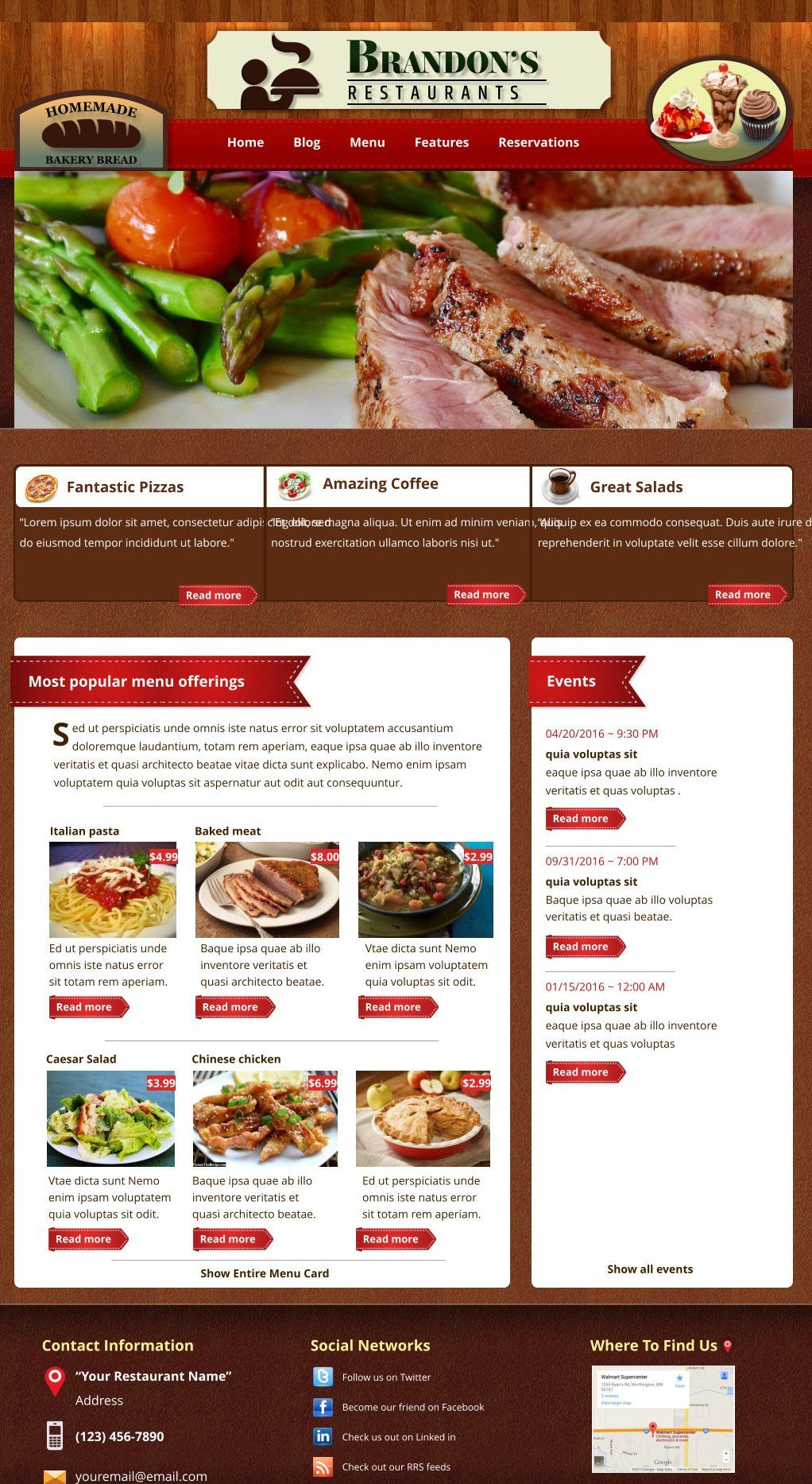 Xara Web Designer 365 Premium Templates - Restaurant Catering Food Beverages Meals Menus Dining Service Event Group Party Meeting Business Waiter Waitress Kitchen Eat Cook Bake Café Diner Inn Eatery Grill Club Shop Lunch Lounge Deli Supper