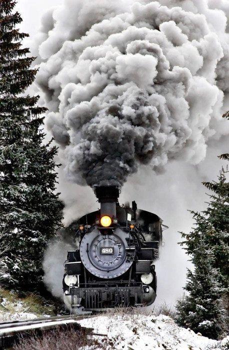 train in smog