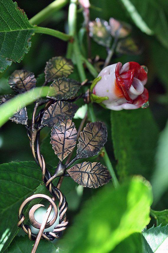 Rose brooch - Tender flower branch pin - Copper handmade scarf or shawl pin