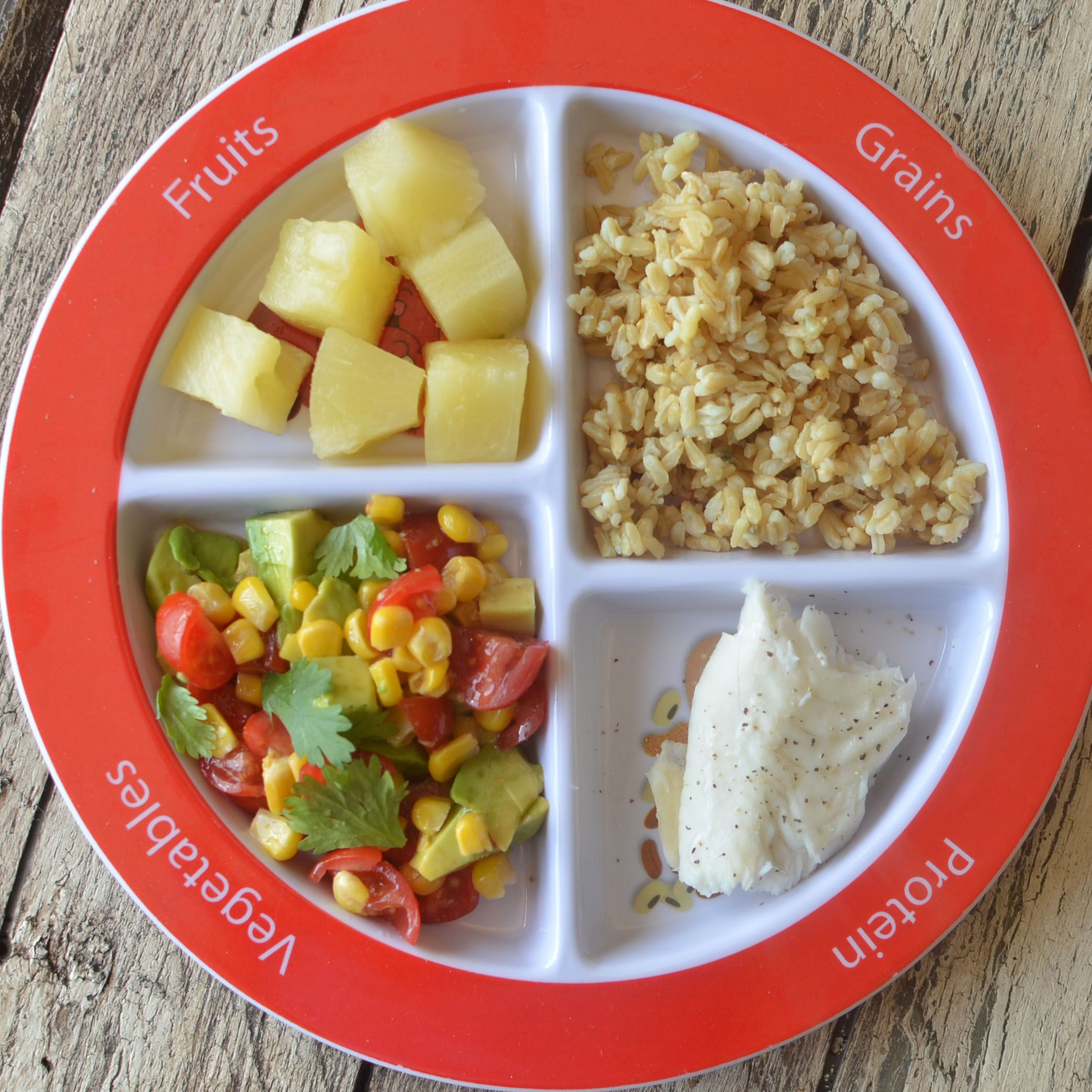 Tilapia Dinner With Brown Rice And Pineapple Myplate