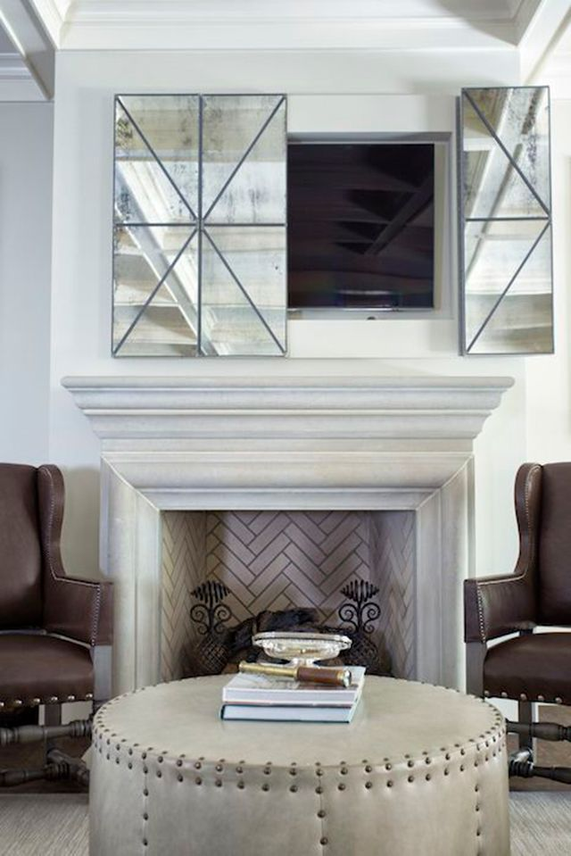 8 Creative Ways To Decorate Around Your Tv Tuft Trim Living Room Tv Wall Living Room Tv Hide Tv Over Fireplace