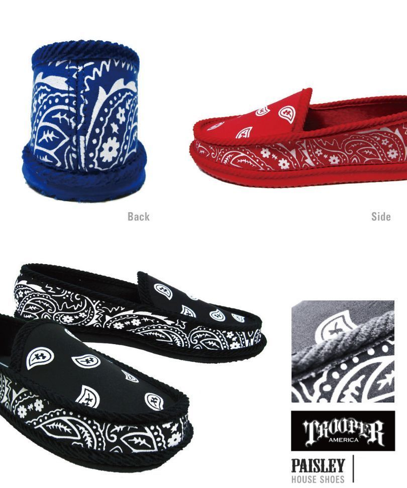231e6ca86cd4 Trendy Gangsta Paisley Bandana House Shoes Slippers Blood Crips Border  Brothers