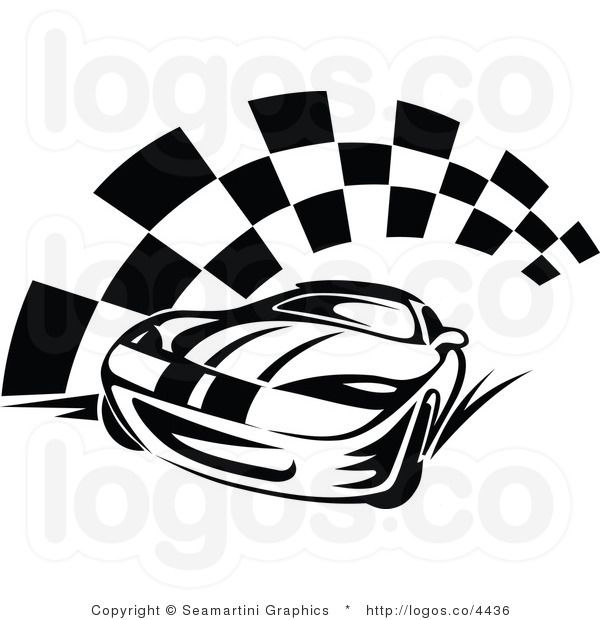 Royalty Free Race Car And Checkered Flag Logo With Images