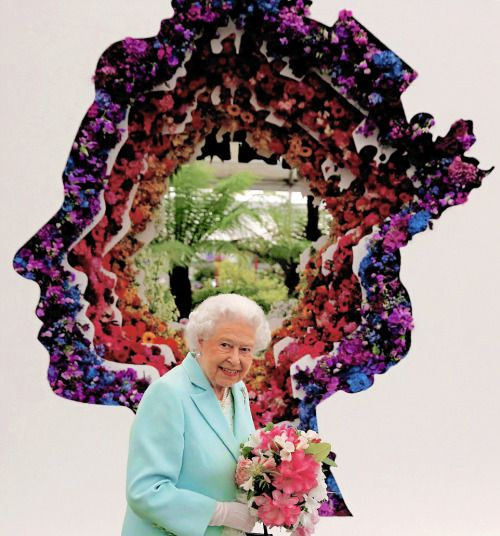 Queen Elizabeth II photographed with the 'Behind Every Great Florist' design at the Chelsea Flower Show on May 23, 2016 in London.