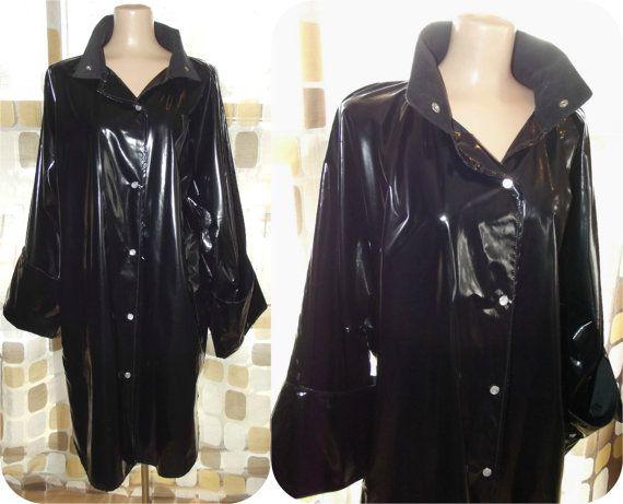 Vintage 80s Black Vinyl Slicker Raincoat Swing Jacket Mod Space Age Bell Cuff Sleeves Wetlook L La Rain Jacket Women Raincoats For Women Vintage Retro Clothing