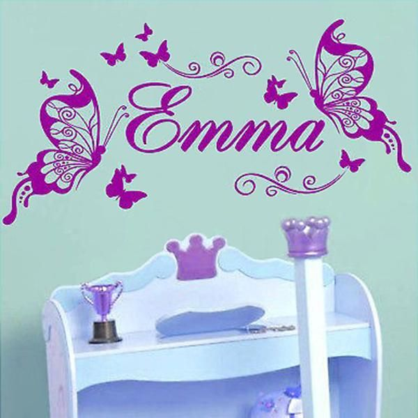 personalised butterfly wall sticker custom made kids name decal