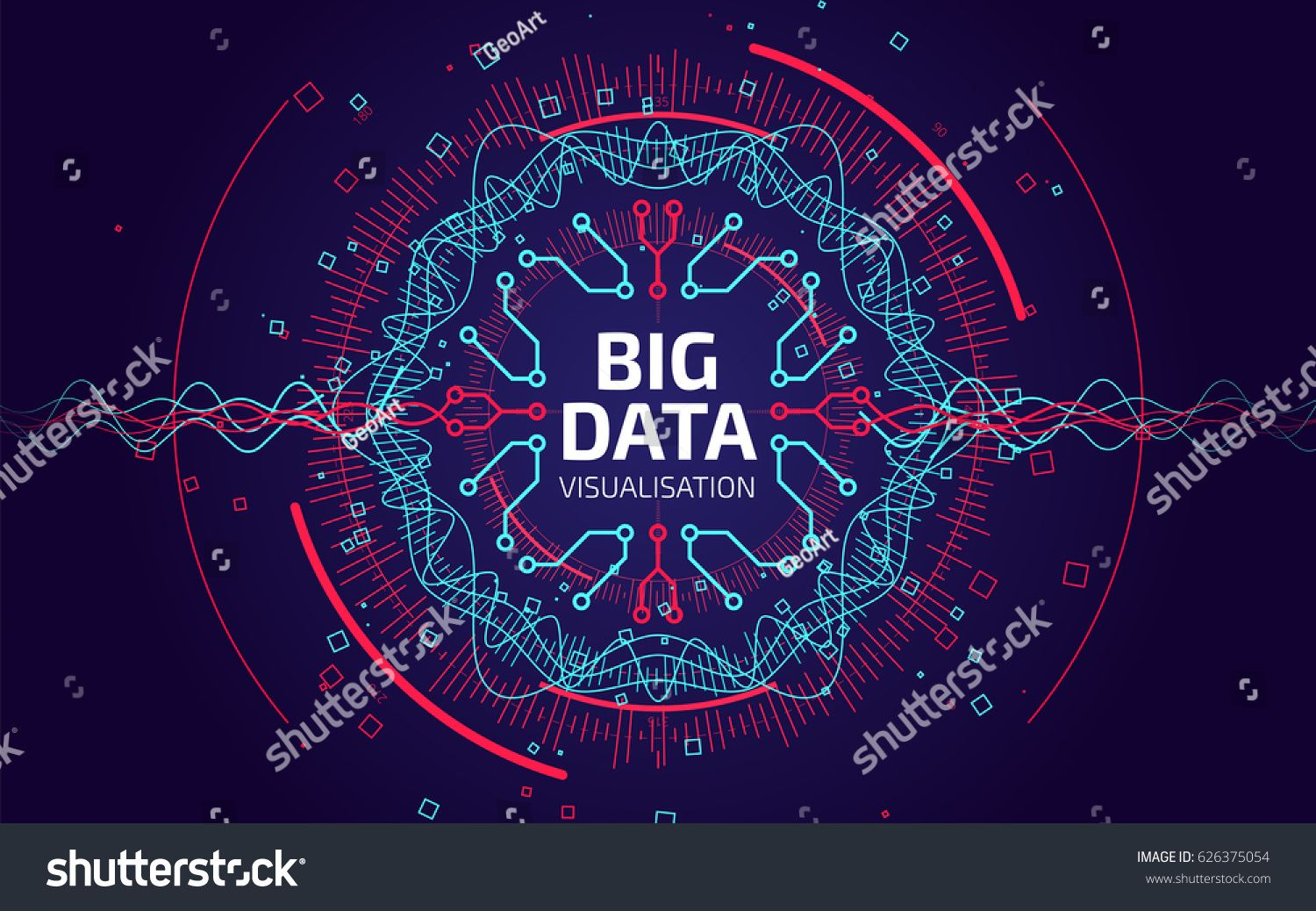 Big Data Visualization Fractal Element With Lines And Dots Array
