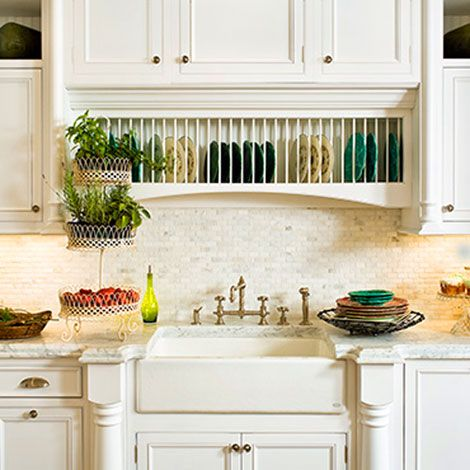 farmhouse sink with plate rack over - nice feature if the sink isn't by a window