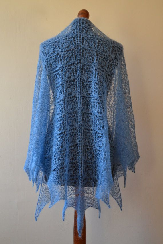 Blue hand knitted triangular kid mohair lace shawl by BeaDMcraft, $110.00