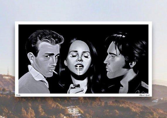 Limited Edition Print 'HOLLYWOOD LEGENDS' Artwork featuring Lana Del Rey James Dean Elvis Presley by #hollywoodlegends