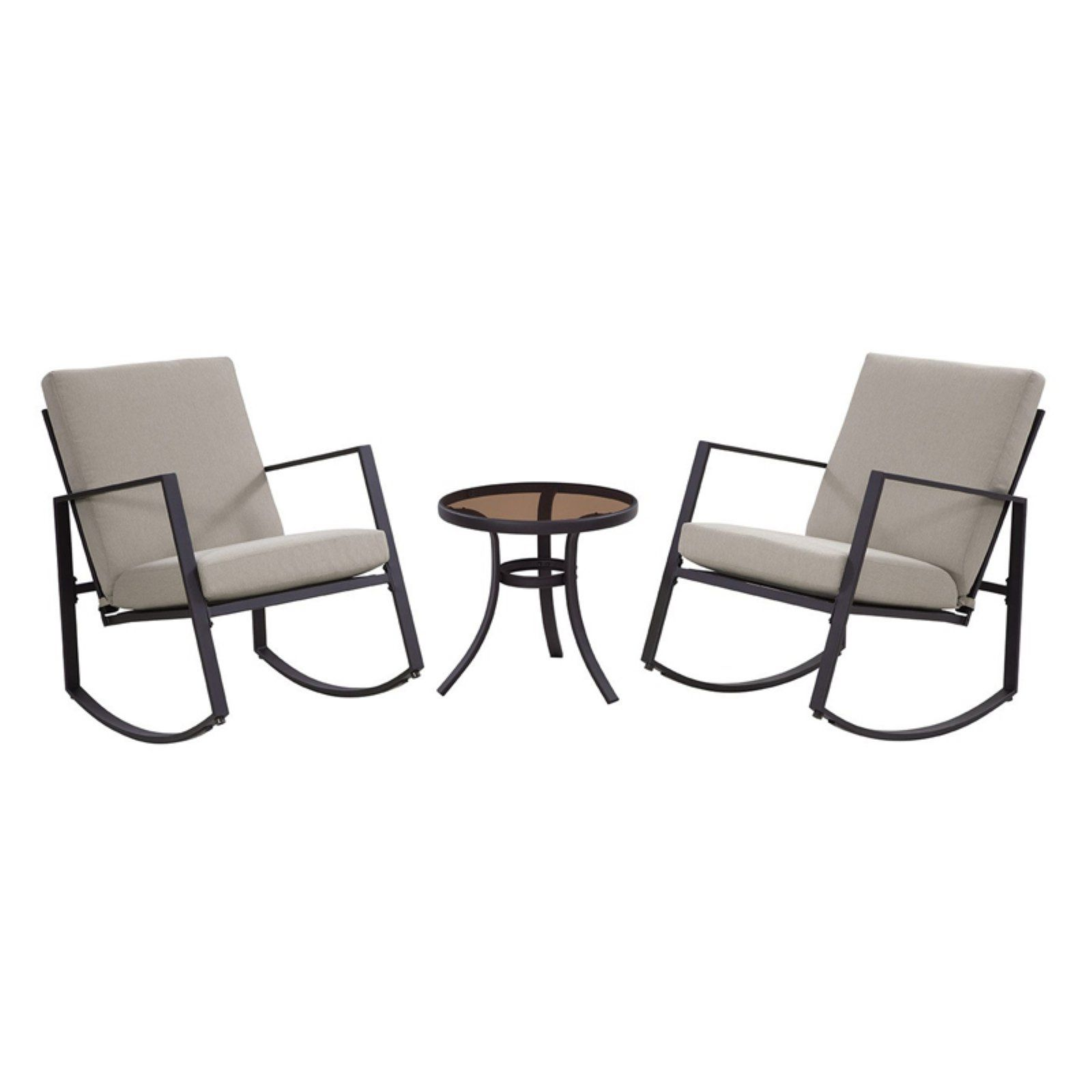 3 Piece Patio Set With Red Cushions