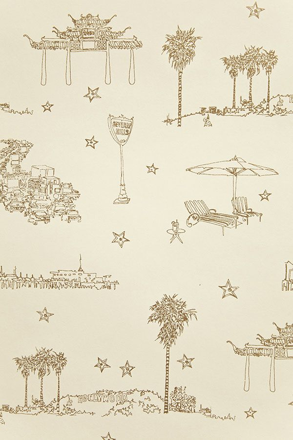 Best coast wallpaper cavern - Iconic Los Angeles landmarks in this amazing toile.