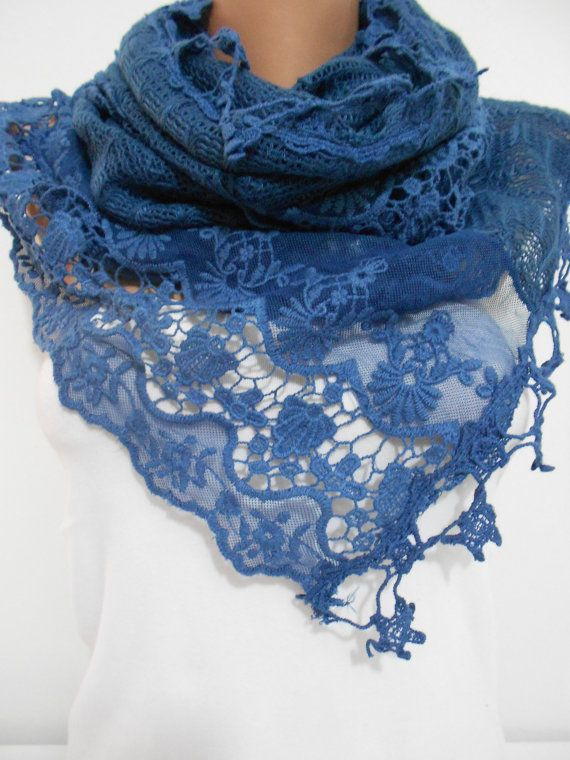 Navy Blue Lace Scarf Shawl Bridal Accessories Navy by ScarfClub