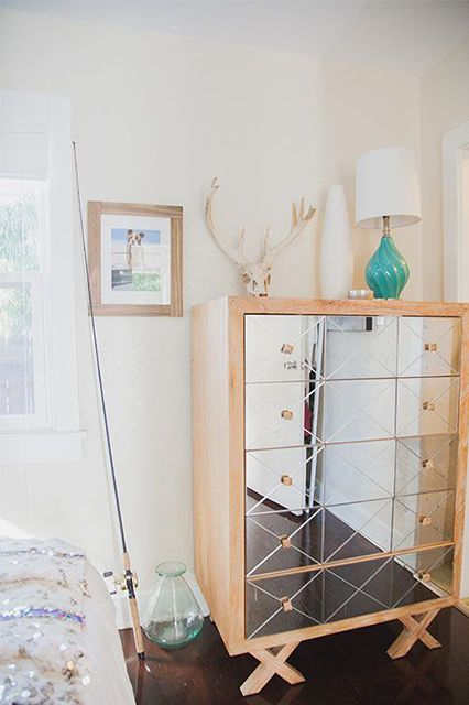 15 Ways To Upgrade Your Space In Just One Click #refinery29  http://www.refinery29.com/shop-the-look-je-t-aime-homepolish#slide5    This mirrored dresser brightens and visually expands the room.Related: A PR Director's West Village Studio