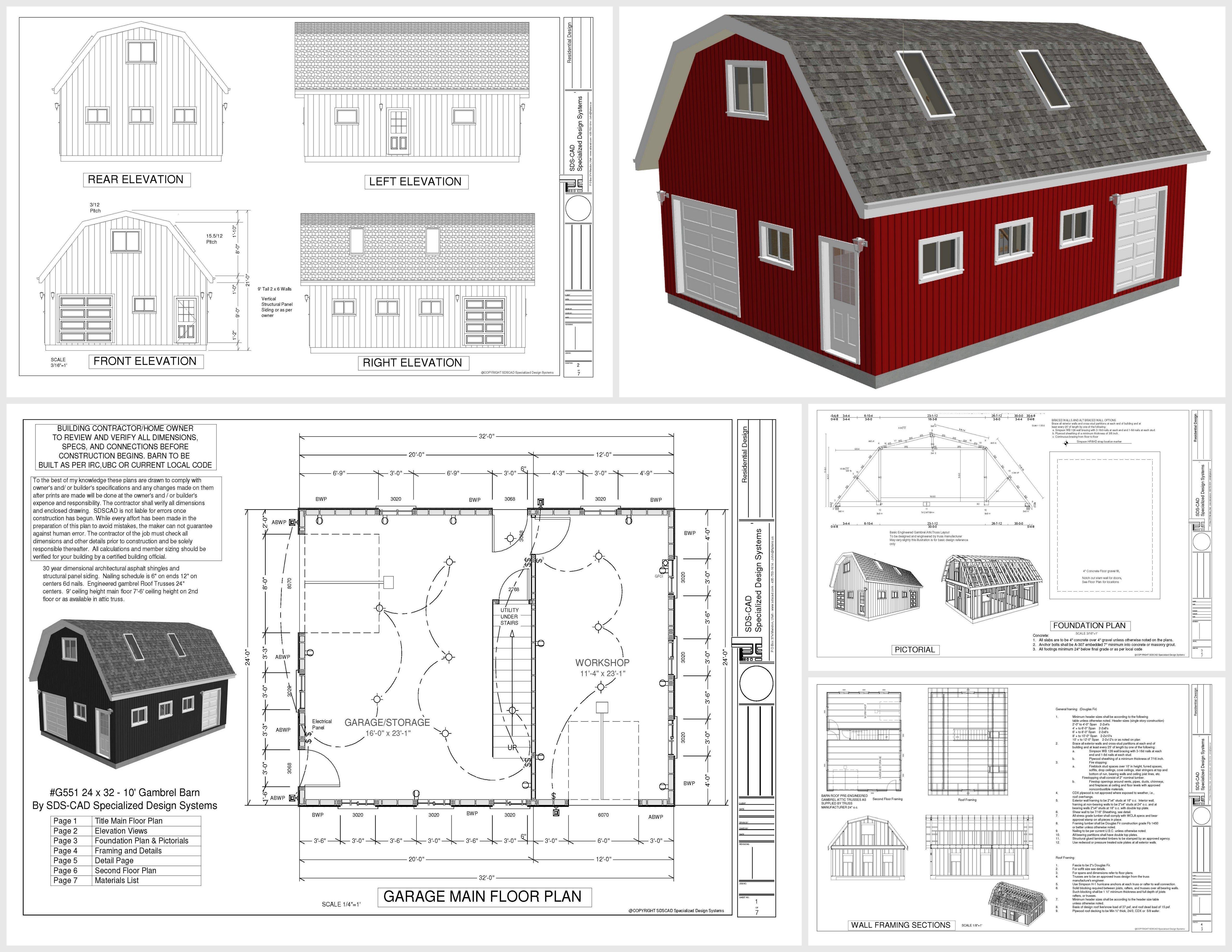 G551 24 X 32 X 10 Gambrel Barn Plans With Loft In Pdf Mendon Cottage Books In 2020 Barndominium Floor Plans Floor Plans Gambrel Barn