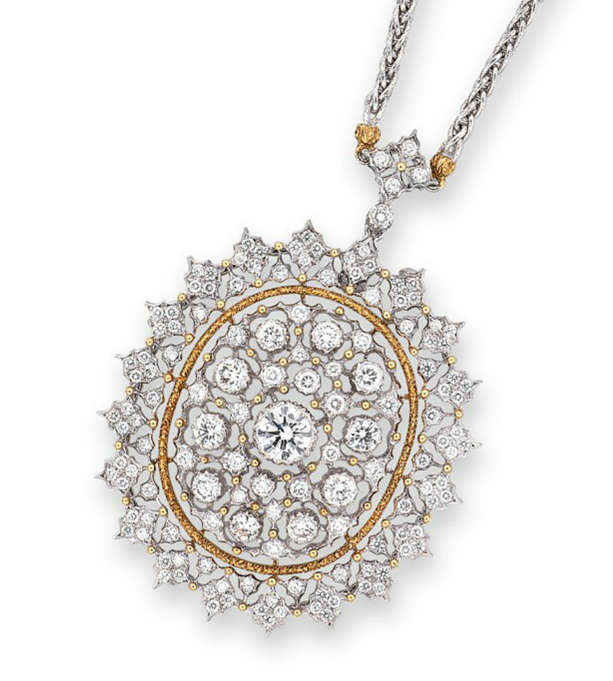A DIAMOND PENDENT NECKLACE, BY BUCCELLATI  The pendant set to the centre with a brilliant-cut diamond, to the brilliant-cut diamond surround and openwork textured gold oval plaque, mounted in 18k white and yellow gold, (pendant may also be worn as a brooch), 40.2 cm long Signed Gianmaria Buccellati, Italy, No. S5225