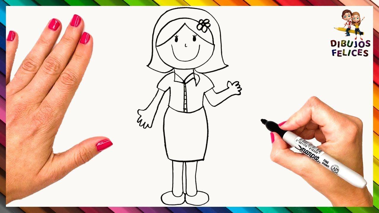 Como Dibujar Una Maestra O Profesora Dibujo De Maestra Dibujos De Profesores Maestra Dibujo Dibujos De Profesiones