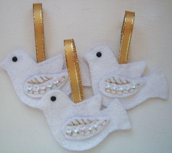 3 Felt Christmas Dove Ornaments