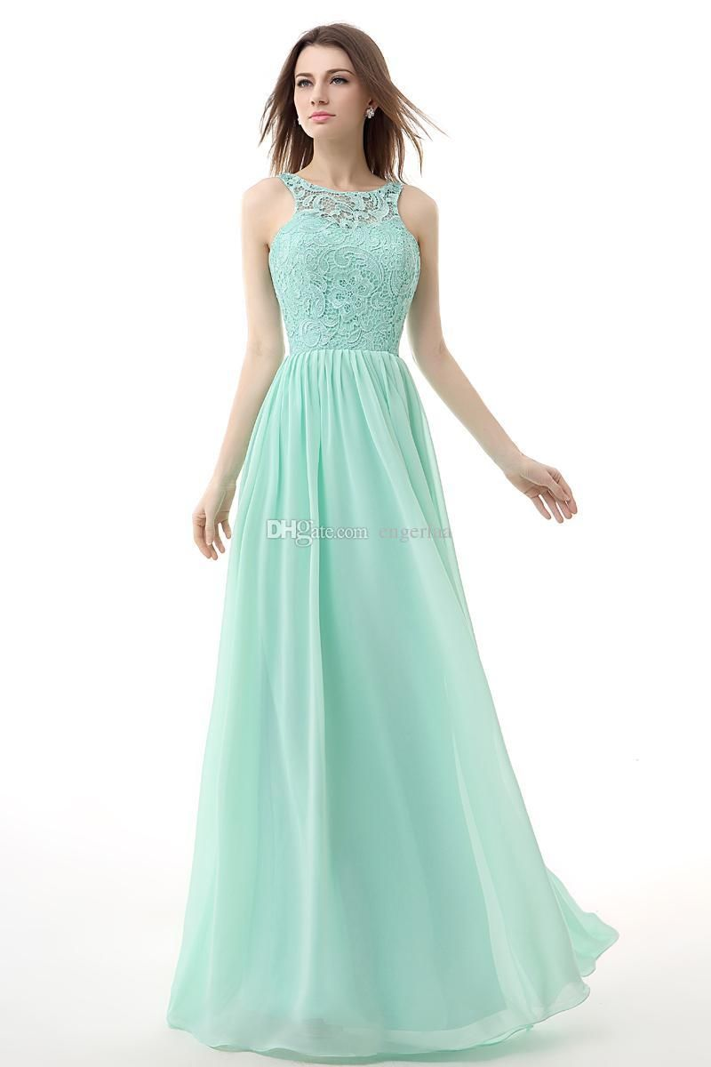 2015 Cheap Prom Dresses Under 80 Long Mint Green Chiffon Backless ...