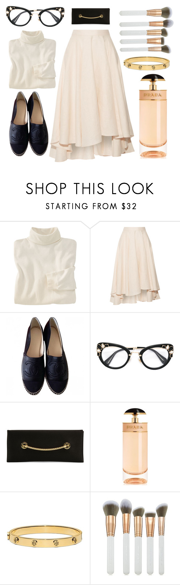"""Classic Cream."" by refinedpunk ❤ liked on Polyvore featuring Woolrich, Miguelina, Chanel, Miu Miu, Tom Ford, Prada, Tory Burch, Spectrum and espadrilles"