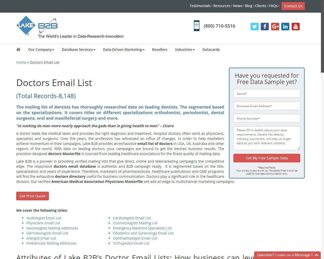 Doctors Email List | Email appending service | Email list