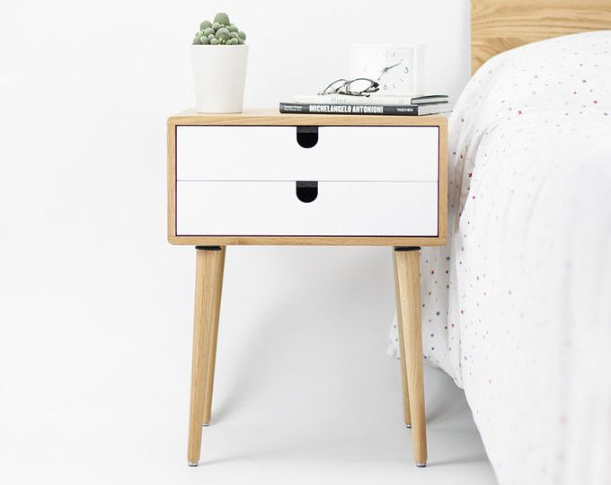 Oak Wood Bedside Table Nightstand Mid Century Modern Retro Scandinavian 2 Drawers Minimalist Bedside Table Retro Bedside Tables White Bedside Table