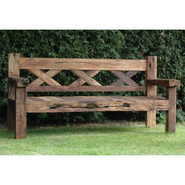 Rustic Garden Bench Grey painted teak lutyens wooden garden bench ...