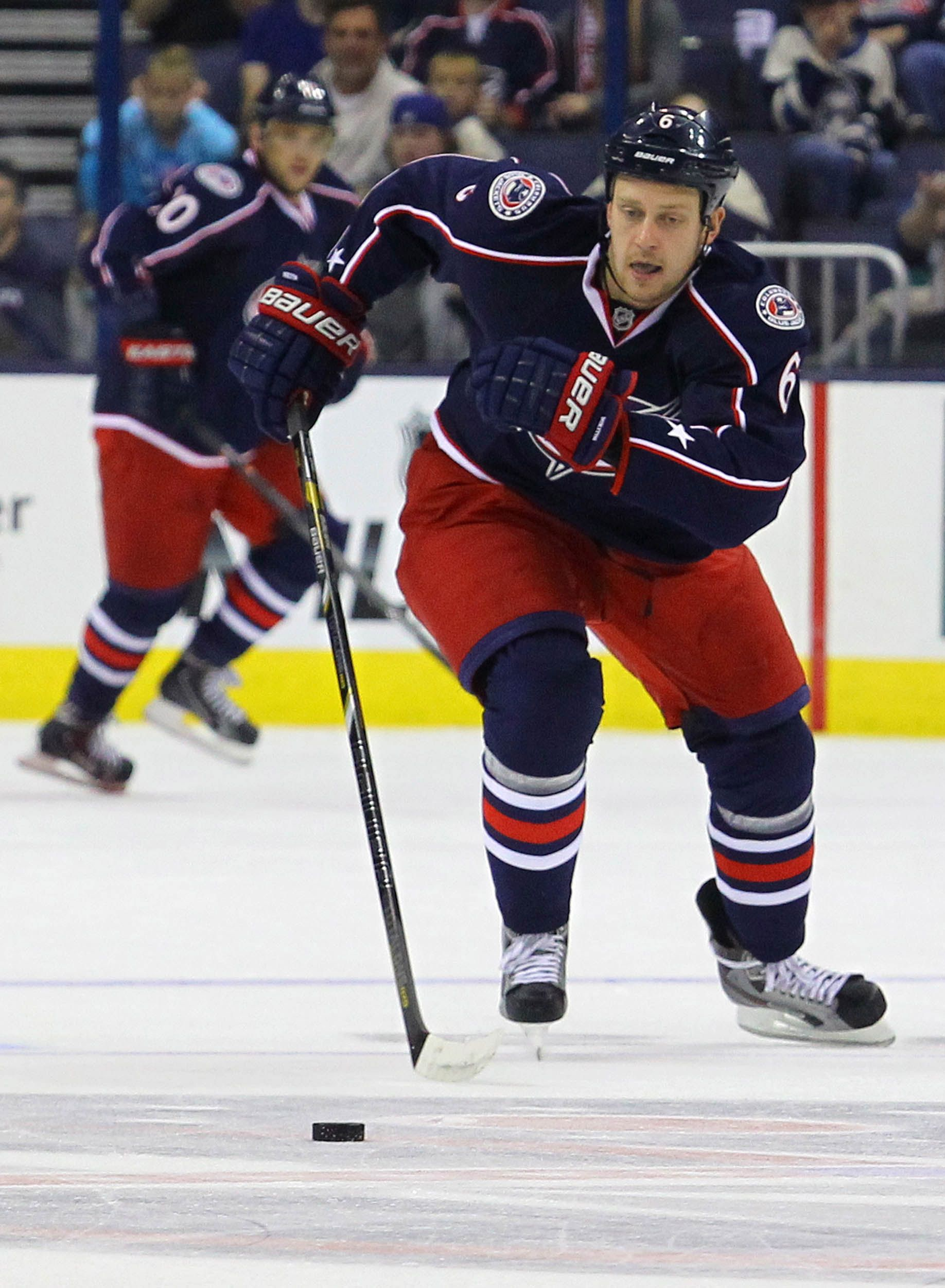 CrowdCam Hot Shot: Columbus Blue Jackets defenseman Mikita Nikitin chases down the puck during the 1st period of the game against the Pittsburgh Penguins at Nationwide Arena. Photo by Rob Leifheit