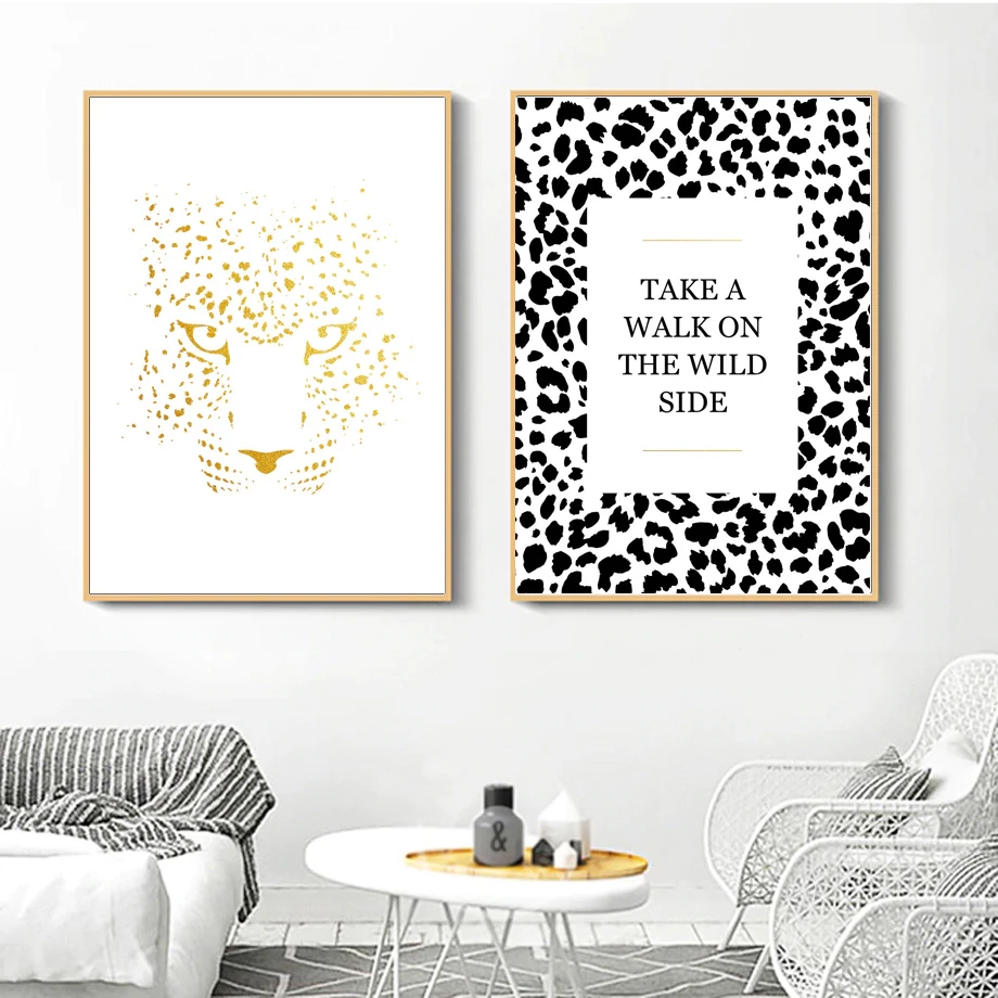 Take A Walk On The Wild Side Leopard Print Wall Art Nordic Style