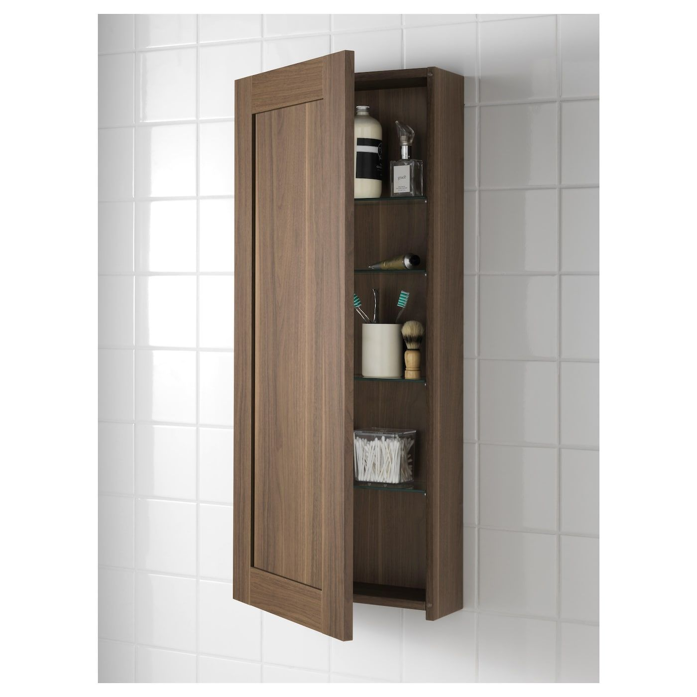Wall Storage With Doors Godmorgon Wall Cabinet With 1 Door Walnut Effect Walnut Wallstorage W Bathroom Wall Cabinets Bathroom Wall Storage Wall Cabinet