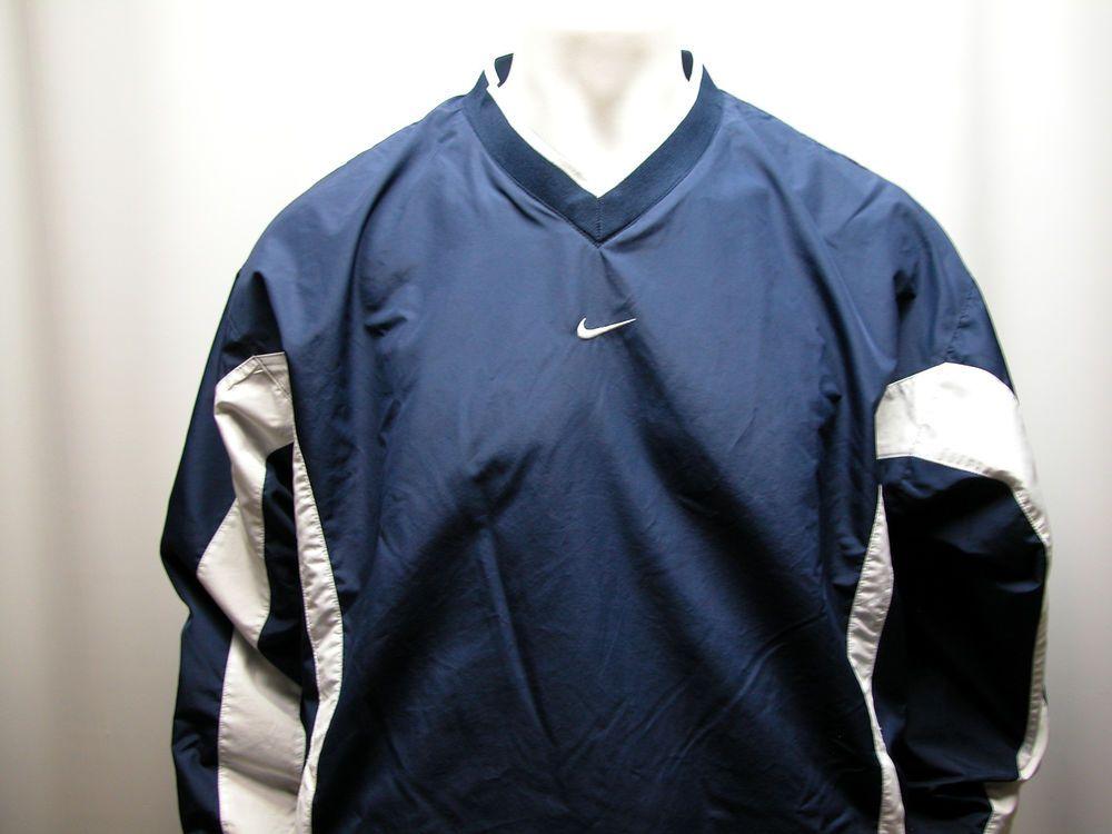 5dd0083ea9 Vintage Nike Mens L Navy White V Neck Pullover Long Sleeve Windbreaker  Jacket  Nike  WindbreakerPullover